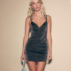 LULUS- Love to Stun Black Sparkly Bodycon Dress
